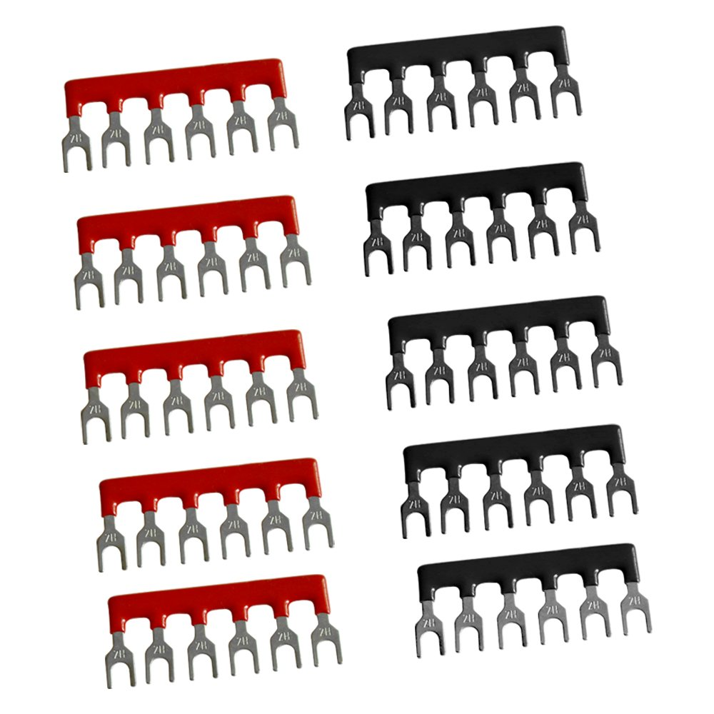 Emile 5Pcs Dual Row 6 Position Screw Terminal Strip 600V 15A and 10 Pcs 400V 15A 5 Postions Pre Insulated Terminal Barrier Strip Red//Black