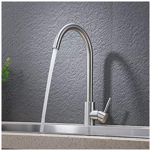 Kitchen VAPSINT 360 Degree Swivel Modern Single Hole Bar Sink Faucet, Single Handle Brushed Nickel Single Hole Bar Faucets with… modern sink faucets