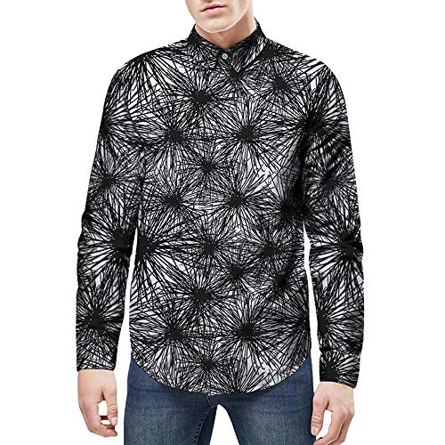 GREFER Clearance Men T Shirts 3D Fashion Star Printed Turn-down Collar Casual Long Sleeve Slim Tops