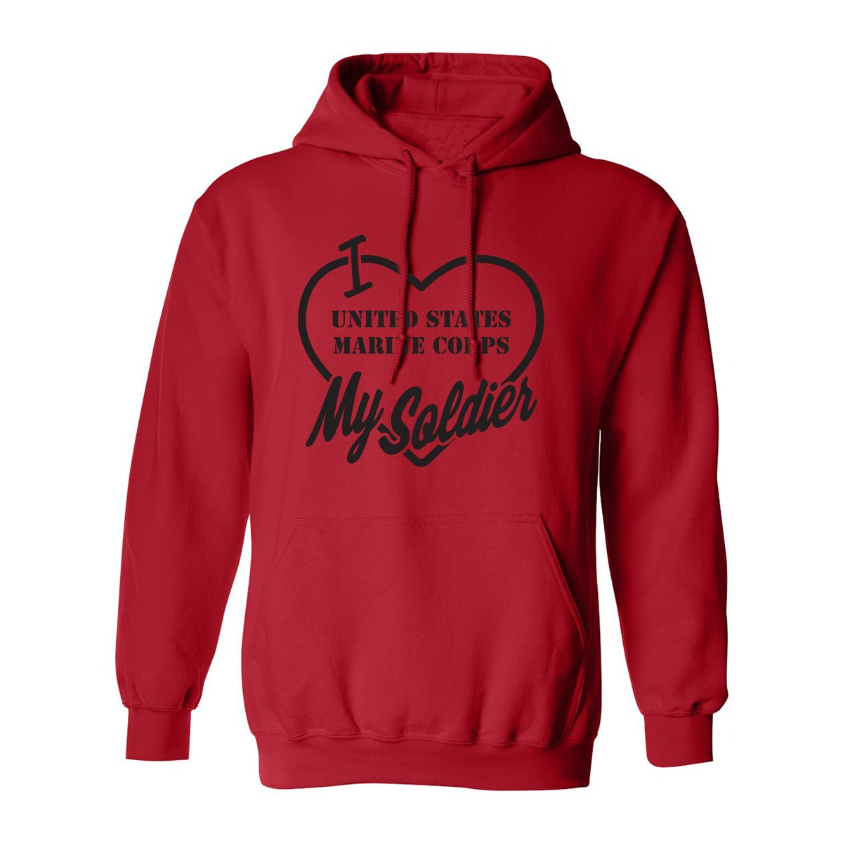 I Love My Soldier (Marine Corps) Adult Hooded Sweatshirt in Red - XXXX-Large