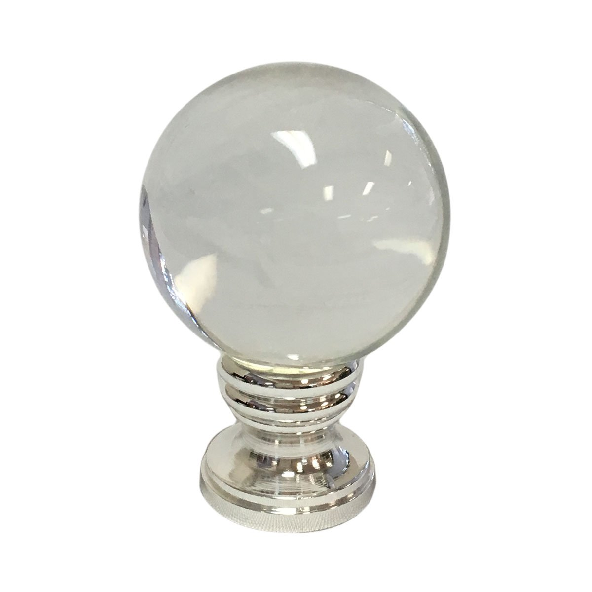 Royal Designs Clear Crystal Ball Lamp Finial with Polished Silver Base