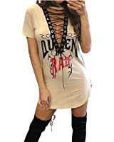 ZANZEA Women's Sexy Slim Bodycon Front Lace Up V Neck Print Short Sleeve Party Club Mini Dress
