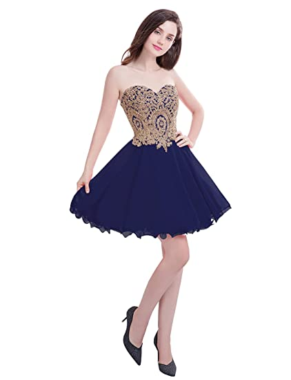 Manfei Short Prom Dress Bridesmaid Party Gowns Gold Appliques At