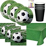 Soccer Ball Themed Birthday Party Plates, Napkins, Cups, Table Cover and Birthday Candles: Serves 16