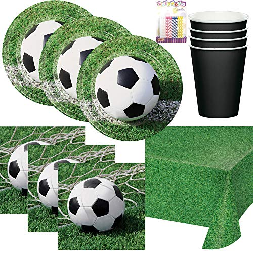 Soccer Ball Themed Birthday Party Plates, Napkins, Cups, and Table Cover (Serves-16) - Soccer Party Supplies Pack Deluxe (Bundle for -