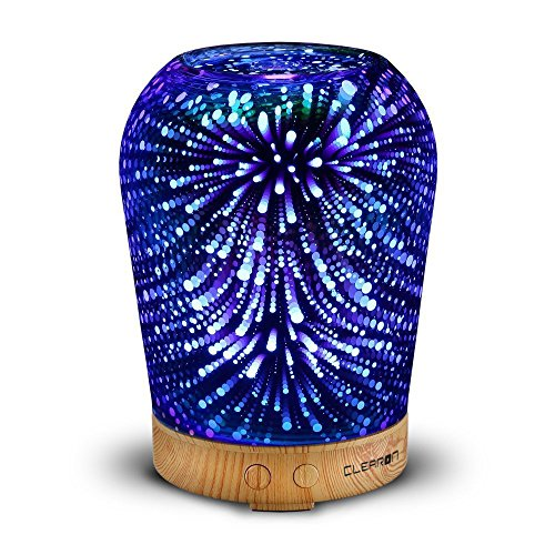(3D Glass Essential Oil Diffuser - Ultrasonic Aroma Scent Diffuser - Cool Mist Electric Humidifier with Color Changing LED Night Lights - for Aromatherapy and Olive Coconut oil - by Clearon (D-023D))