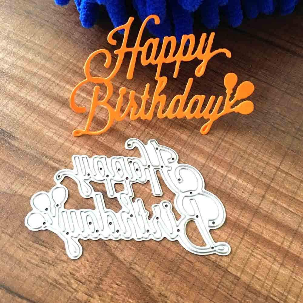 Cutting Dies Christmas, Happy Birthday Metal Cutting Dies Card Making Scrapbooking Stencils Album Paper Card Craft Embossing DIY Letter Decorative Background
