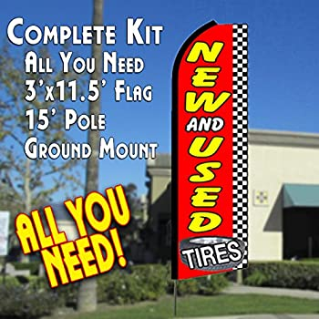 NEW & USED TIRES (Checkered) Flutter Feather Banner Flag Kit (Flag, Pole, & Ground Mt)