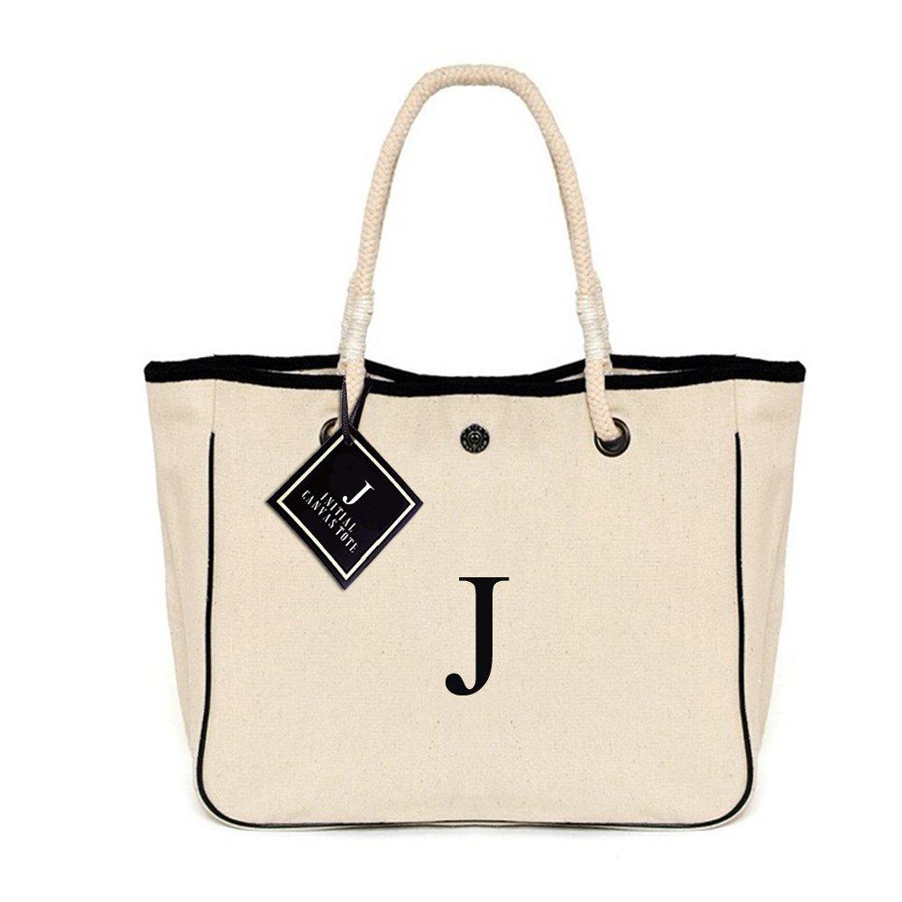 [ INITIAL - J ] Monogram Name Canvas Tote Shoulder Bag