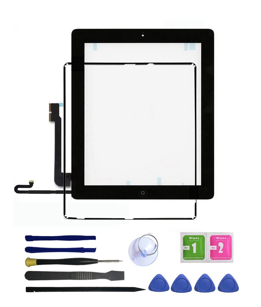 IPad 4 Screen Replacement, FeiyueTech New Touch Digitizer Replacement Assembly Includes Home Buttom + Camera Holder + Frame Bezel + Preinstalled Adhesive + Premium Repair Toolkit (Black)