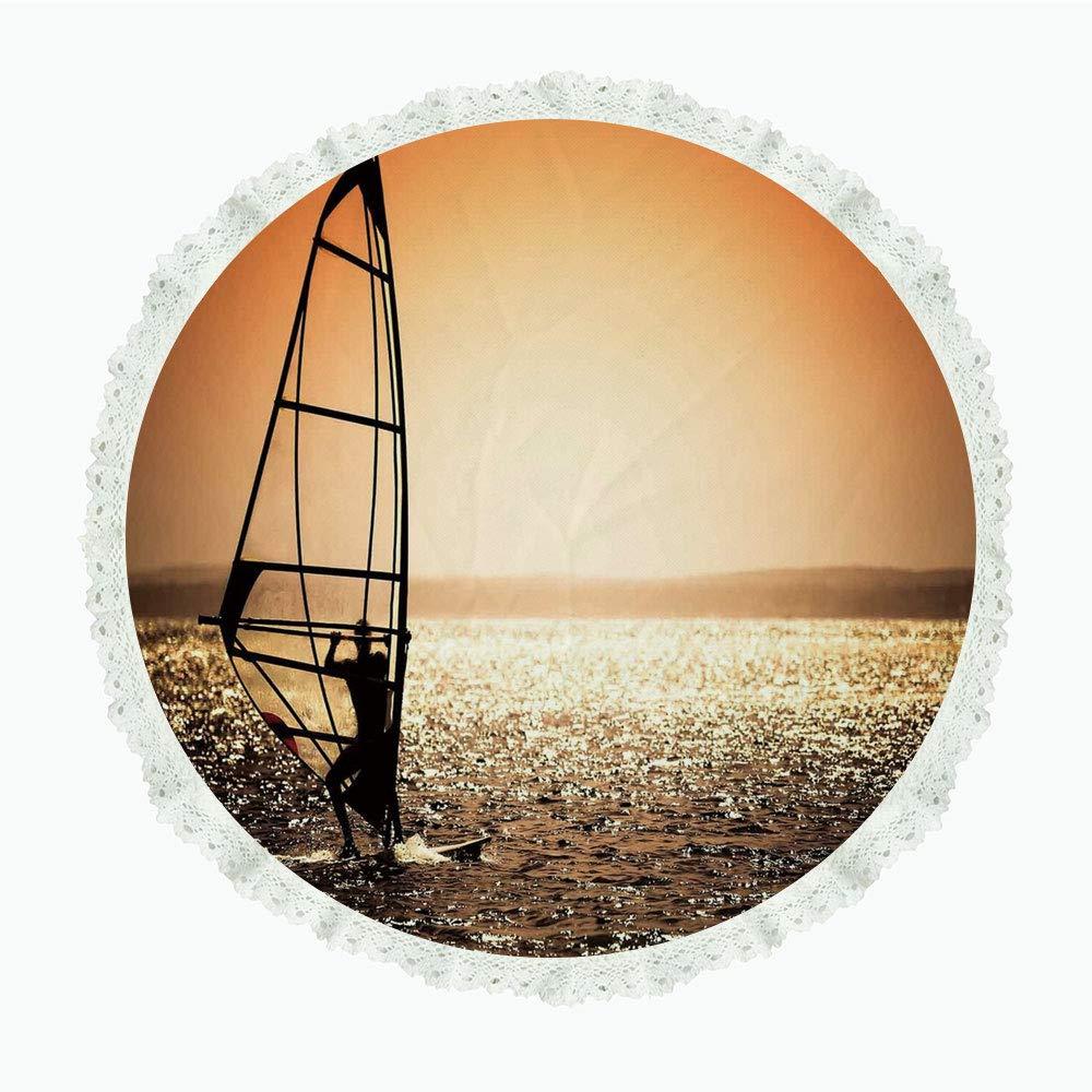iPrint 36インチ ラウンド ポリエステル リネン テーブルクロス 雲 海と空が混ざり合った鮮やかな生活 インスピレーションが浮かび上がる リラックスできるイメージ ライトブルー ディナーキッチン ホームデコレーション Round 36