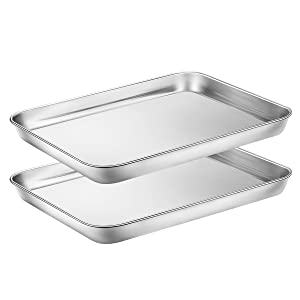 Baking Sheets Set of 2, HKJ Chef Cookie Sheets 2 Pieces & Stainless Steel Baking Pans & Toaster Oven Tray Pans, Rectangle Size 10L x 8W x 1H inch & Non Toxic & Healthy & Easy Clean