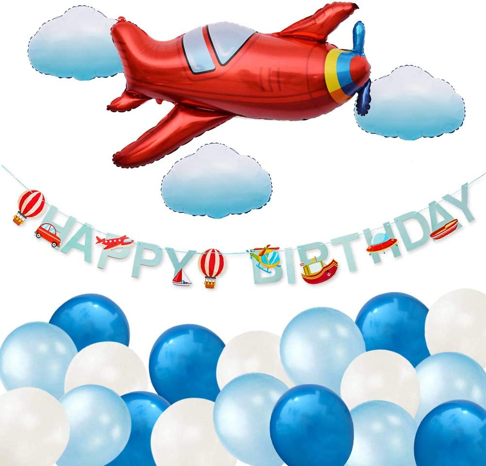 ETLEE Airplane Party Decoration - Airplane Cloud Balloons & Happy Birthday Banner & Latex Balloons for Aviator Adventure Themed Birthday Party Decorations
