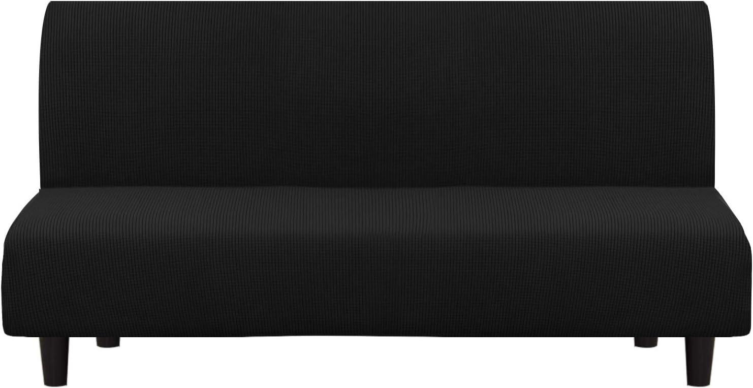 Turquoize Stretch Futon Cover Full Size Armless Sofa Futon Slipcover Black Jacquard Futon Bed Cover Stylish Furniture Cover/Protector for Futon with Elastic Bottom Machine Washable (Futon, Black)