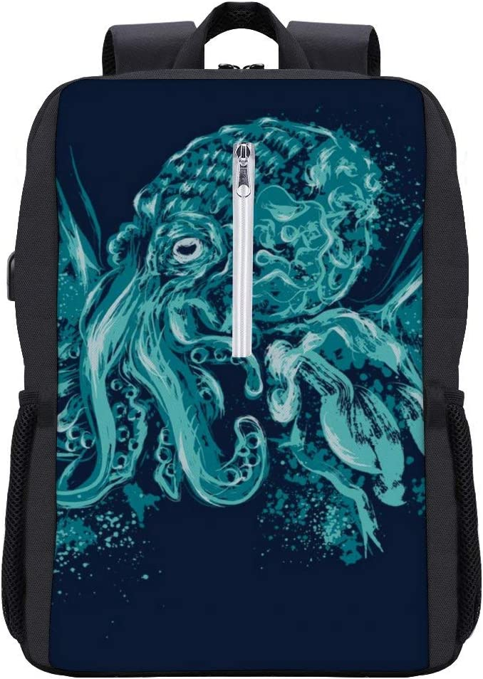 Cthulhu A God Beyond The Sea Backpack Daypack Bookbag Laptop School Bag with USB Charging Port