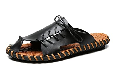 66949b8f4c6d MT-TBA Mens Close-Toe Leather Slipper Summer Sandals with Lace up Details 5