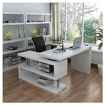 Warmiehomy - Escritorio para Ordenador de Oficina en Forma de L para Ordenador portátil, Escritorio, Mesa de Estudio, para Oficina en casa, Color Blanco: ...