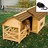 Image of Wooden Barn Dog House for Large & Extra Large Dogs with Heater Outdoor Pet Puppy Shelter Kennel, Raised Floor Panel, Solid Fir Wood All Weather Big Doghouse