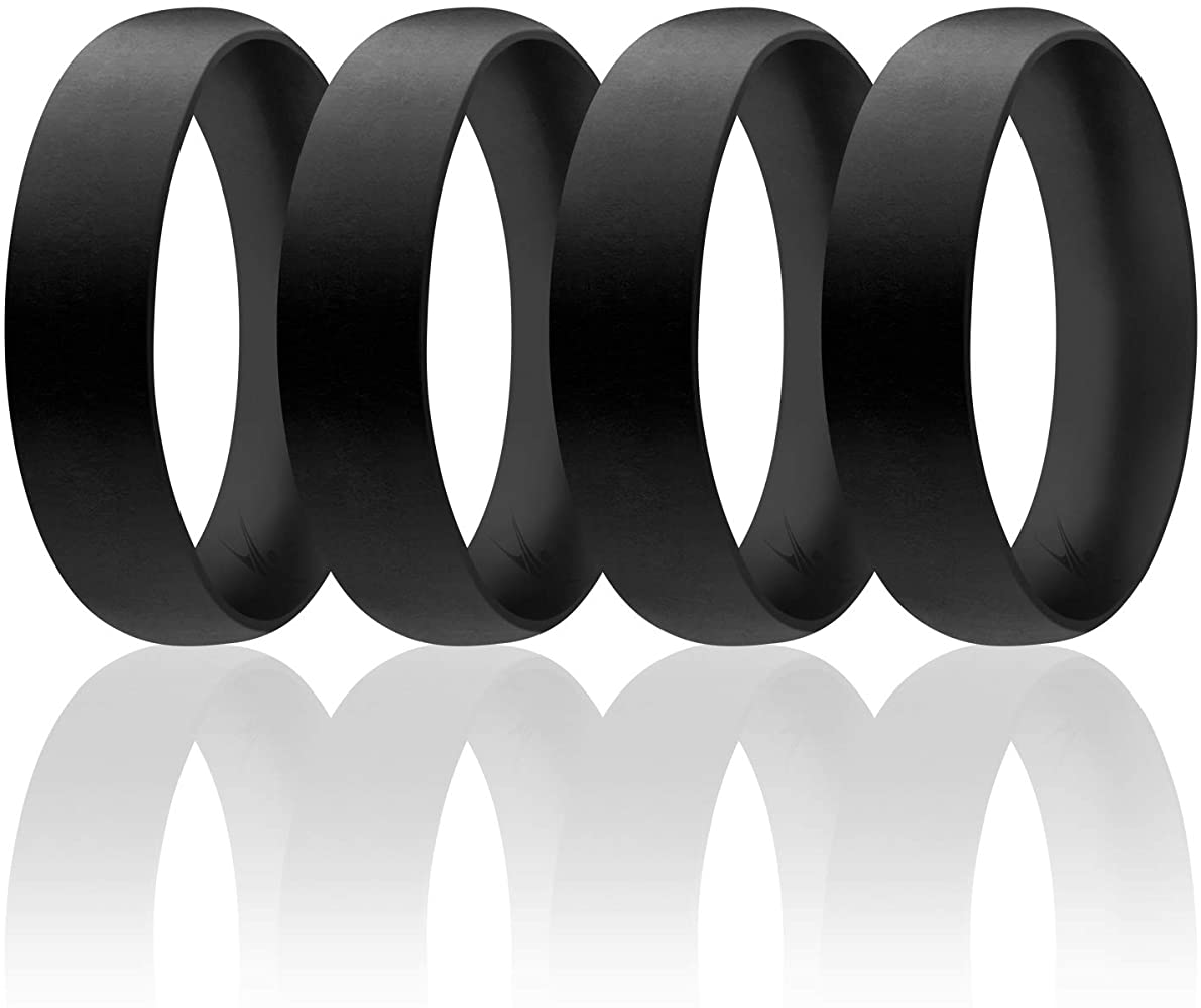 This is a graphic of ROQ Silicone Wedding Ring for Men, Affordable 44747mm Metallic Silicone Rubber Wedding Bands, Comfort Fit, Singles, 447 & 47 Packs - Black, Grey, Silver,