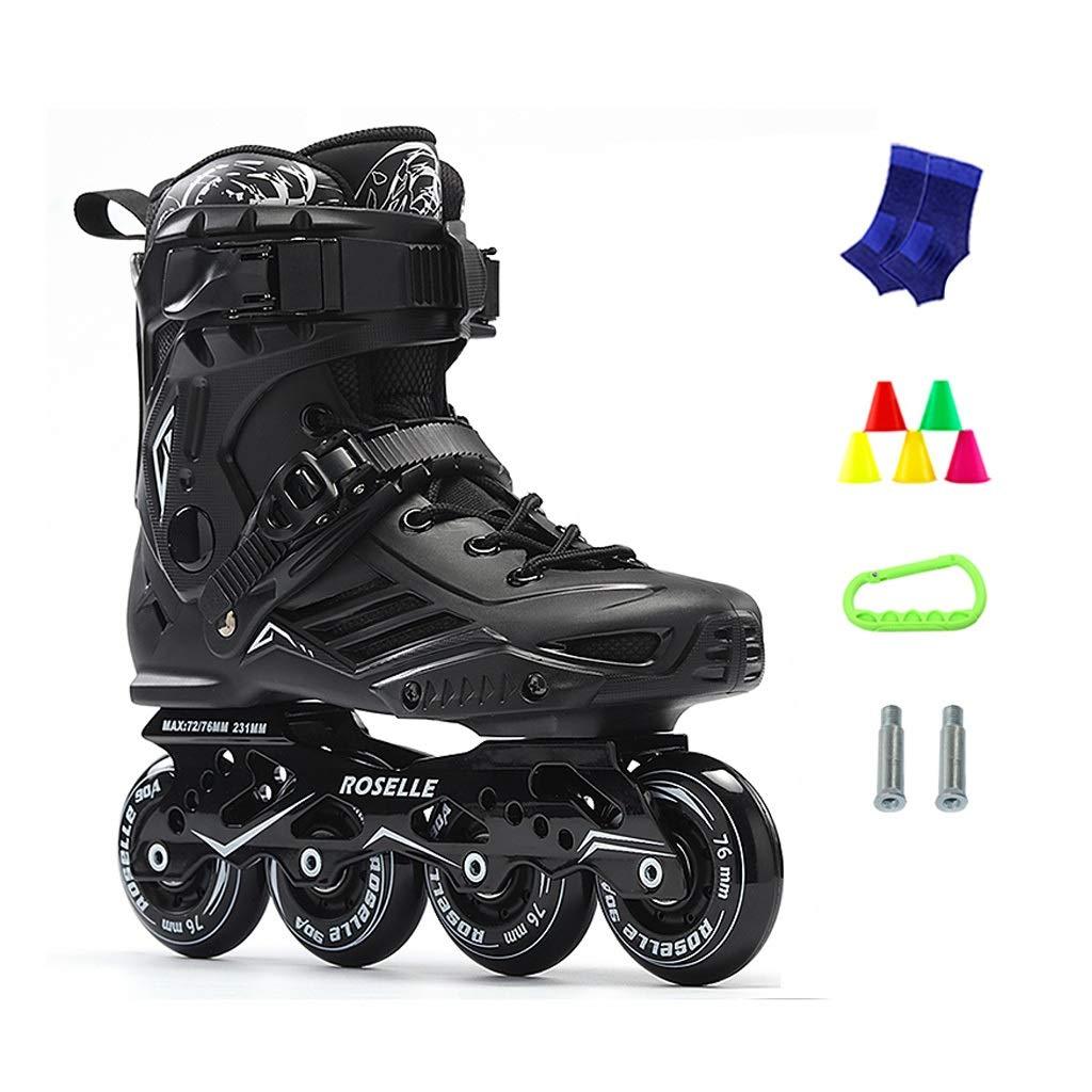 JIANXIN Inline Skates, Beginner Light Up The Wheel Roller Skates Suitable for Women, Men, Youth Skating, Black (Color : A, Size : EU 43)