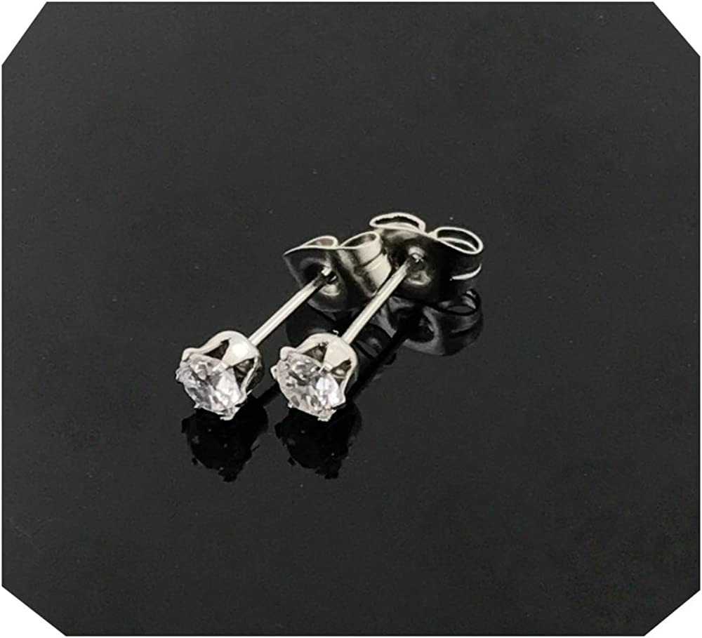 3MM 18k White gold filled earring with lab simulated diamonds suitable for men/women.