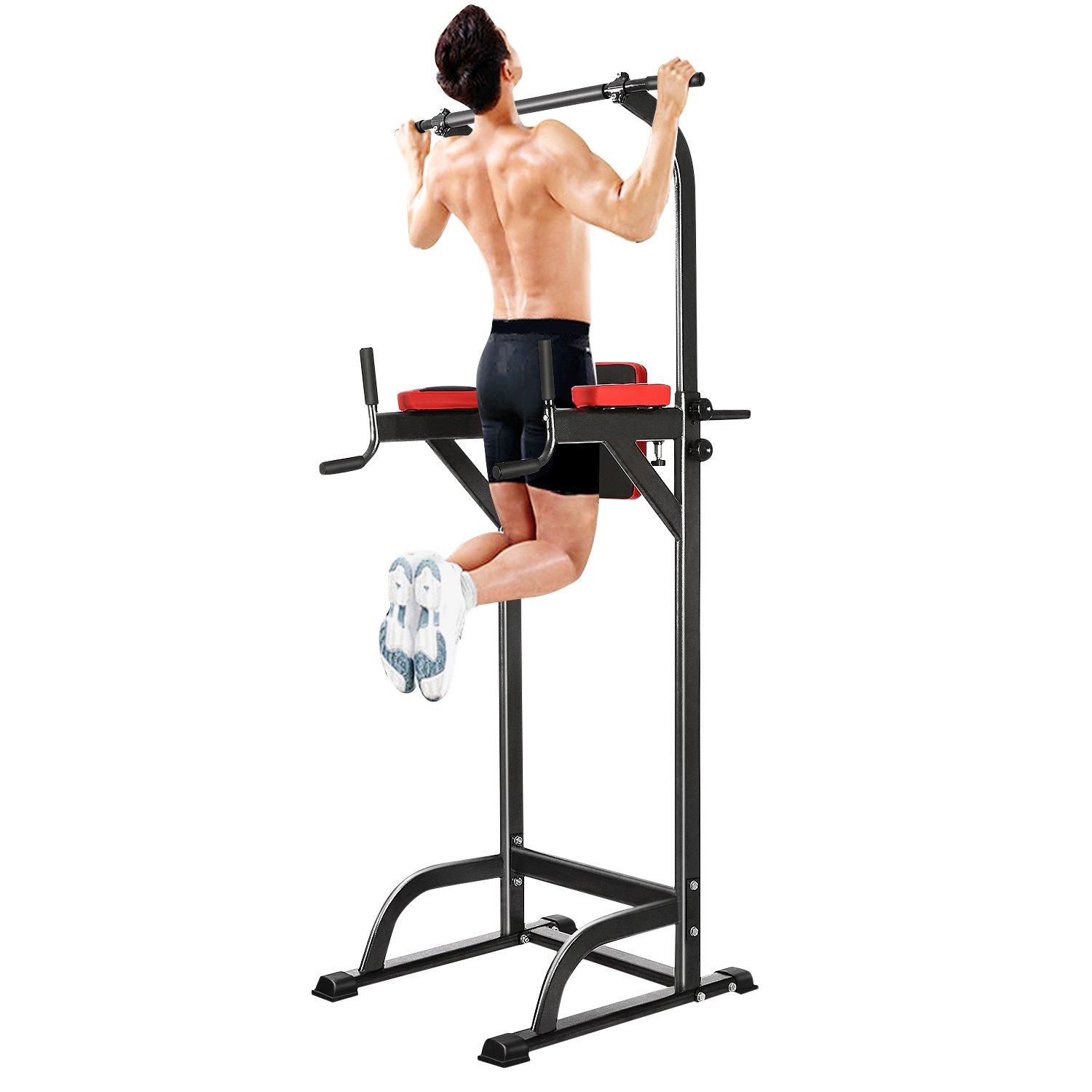 Vansop Adjustable Sturdy Steel Power Tower Multi-Functional Exercise Stand Workout Pull-Up, Push-Up, Dip Station, Knee Raise with Cushion Pad, Black by Vansop