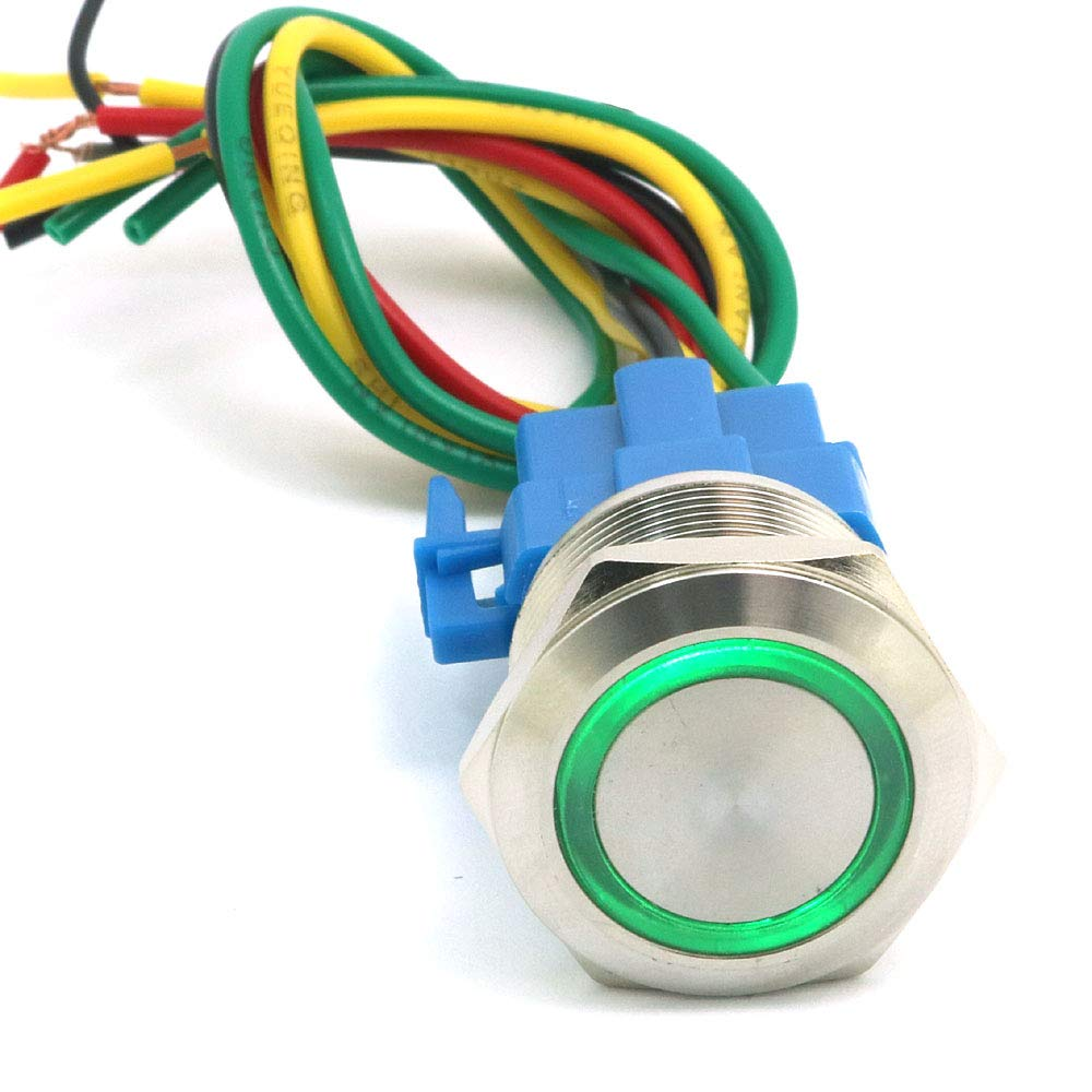 DollaTek 22mm Momentary Switch Push Button Switch 12V DC Angel Eye LED Waterproof Stainless Steel Round Llight Switch Green