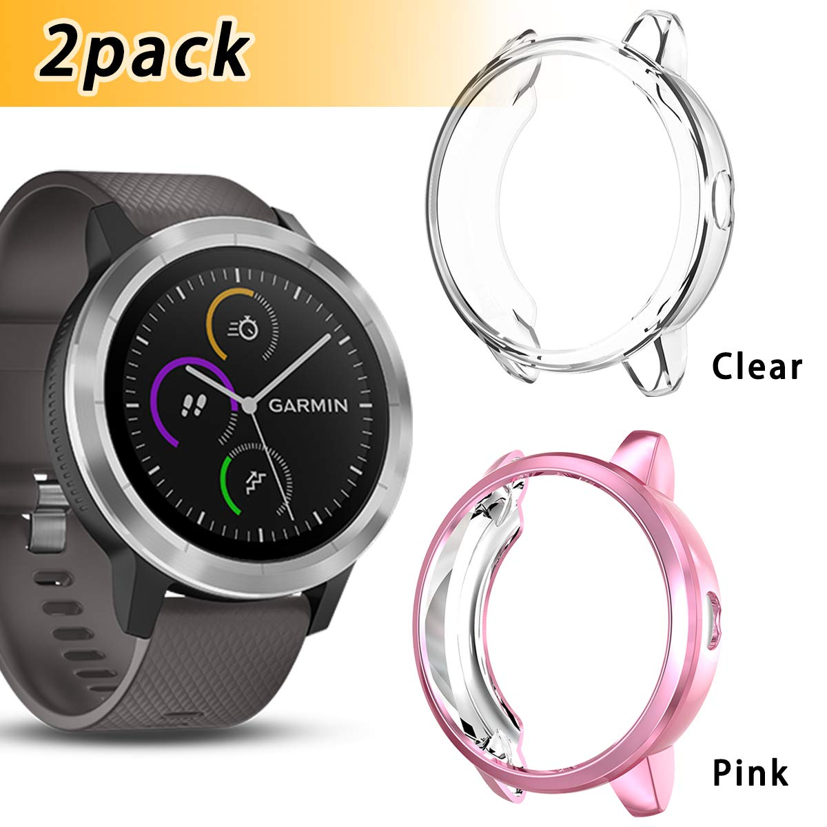 silver+clear Anzela 2 PACK Case for Garmin Vivoactive 3 Trainer Smartwatch Soft Plated TPU Scratch-Proof Protective Bumper Shell Case Cover for Garmin Vivoactive Smartwatch