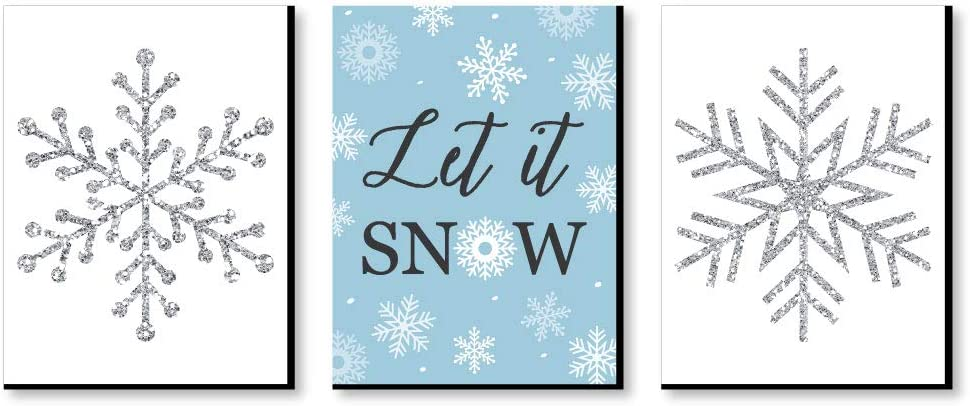 Big Dot of Happiness Winter Wonderland - Holiday Wall Art and Blue Snowflake Decorations - 7.5 x 10 inches - Set of 3 Prints