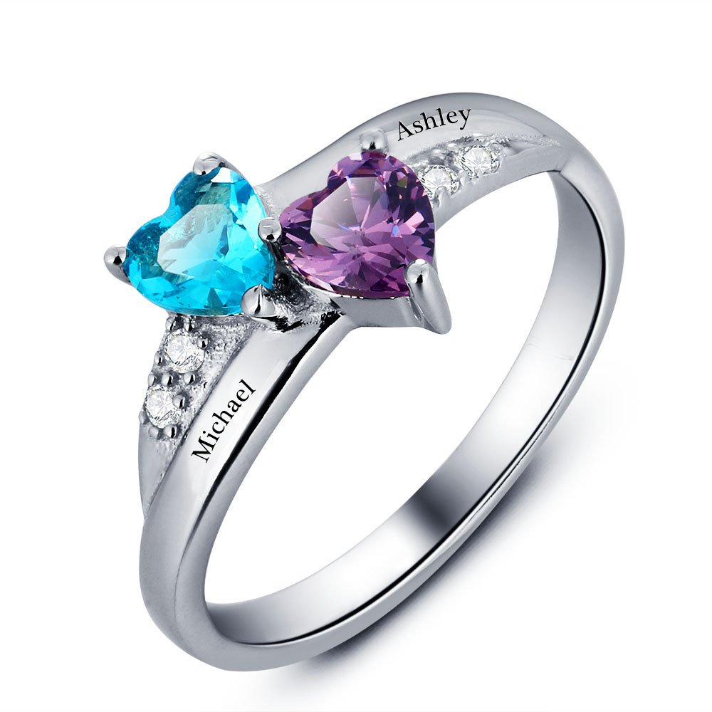 Diamondido Personalized Engagement Promise Ring Her Couples Heart Names Ring Simulated Birthstone RI101781
