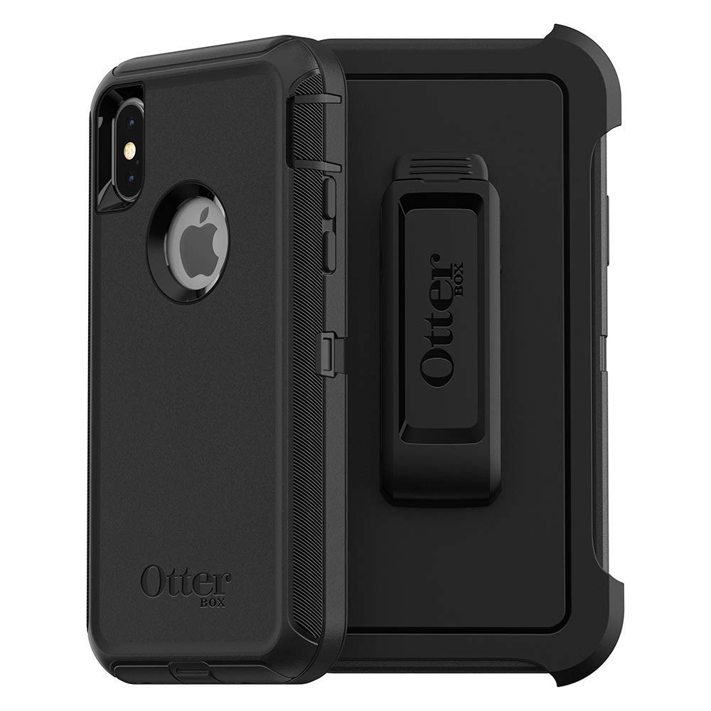 Compatible with iPhone X and XS - OtterBox Defender Black Case with Belt Clip Holster - Comes in Retail Packaging