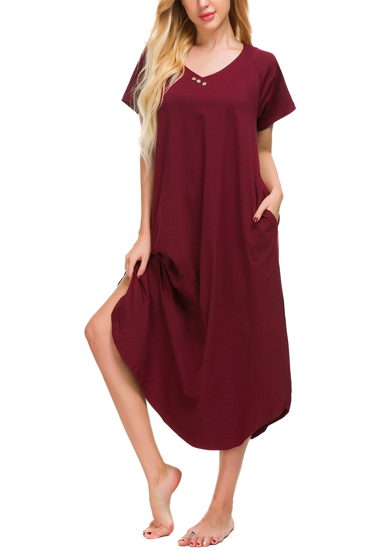 Yozly Loungewear Womens Cotton Knit Short Sleeve Long Nightgown with Pockets S-XXL (Wine Red, M)