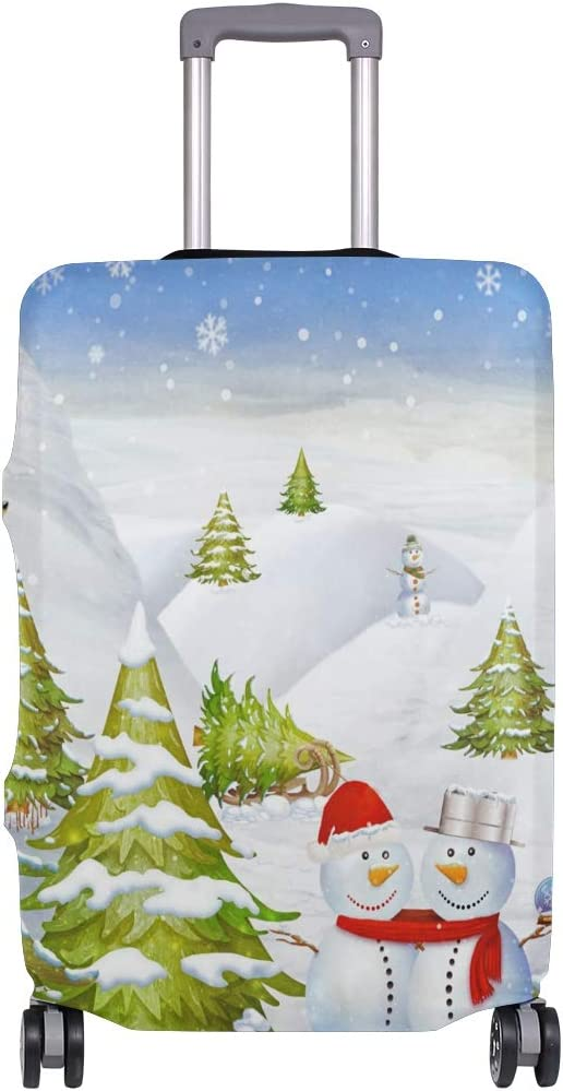 GIOVANIOR Winter Landscape With Snowmen Luggage Cover Suitcase Protector Carry On Covers