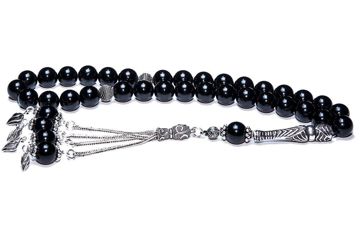 Muslim Prayer Beads made of 10 mm Onyx Gemstone and Sterling Silver - islamic prayer beads, dhikr beads, tasbih, misbaha, sibha, muslim rosary, masbaha