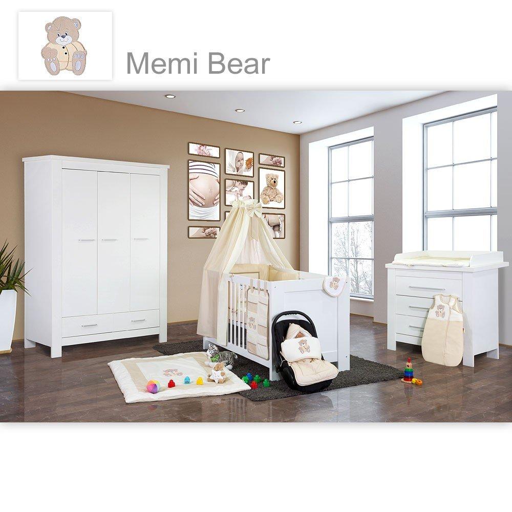 Babyzimmer Enni in weiss 10 tlg. mit 3 türigem Kl. + Textilien von Memi in Beige