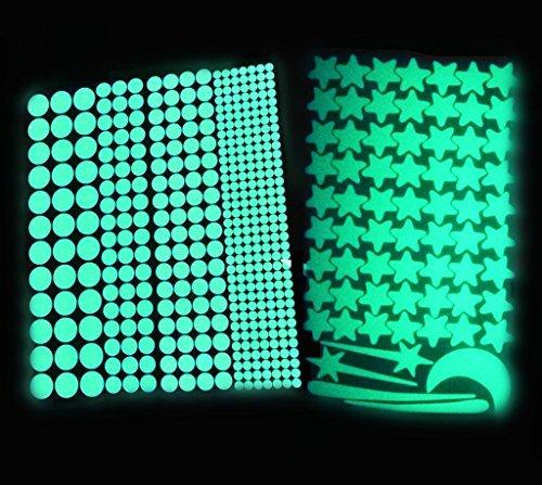 Captank Glow Dots Star Moon luminous Wall Decal Sticker Glowing in the Dark Kids Room Wall Sticker 475 pcs Glow Green Light 10-12 hours Self Ahesive Dots ()