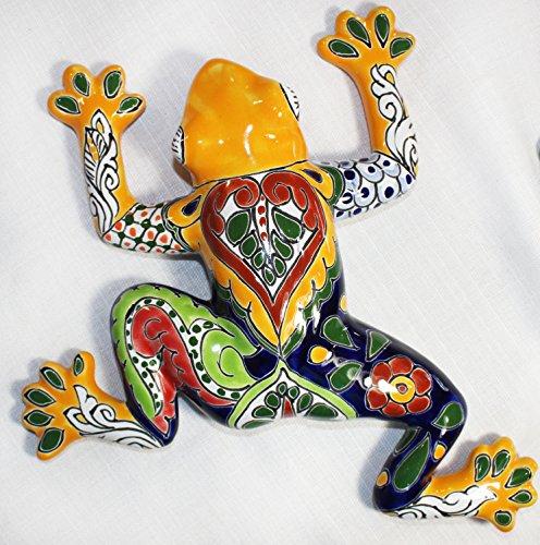 Tierra Fina Talavera Small Wall Frog - 10.50'' W X 10.50'' L (Yellow body) by Tierra Fina