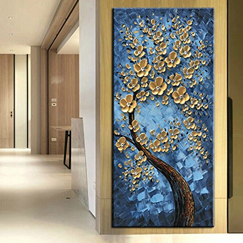 Tree of Life Blue Canvas Oil Paintings Wall Art Hand Painted Modern ...