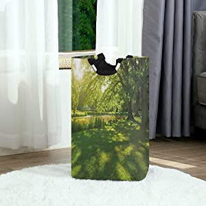 DAOPUDA Laundry Bag Green Germany Hamburg Summer Park Trees Sunshine Forest Nature Theme Scenic Spots Outdoor Pictures Large Hamper Bags for Heavy-Duty Use with Strap,Clothes Basket for Dorm Bathroom