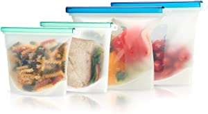 FLEX&LOCK Reusable Silicone Food Storage Bags 4 pcs Eco-Friendly Clear BPA-Free Microwave Freezer Dishwasher Safe bag resealable ziplock bags non plastic pouch for Lunch sandwich fruits Meal snack