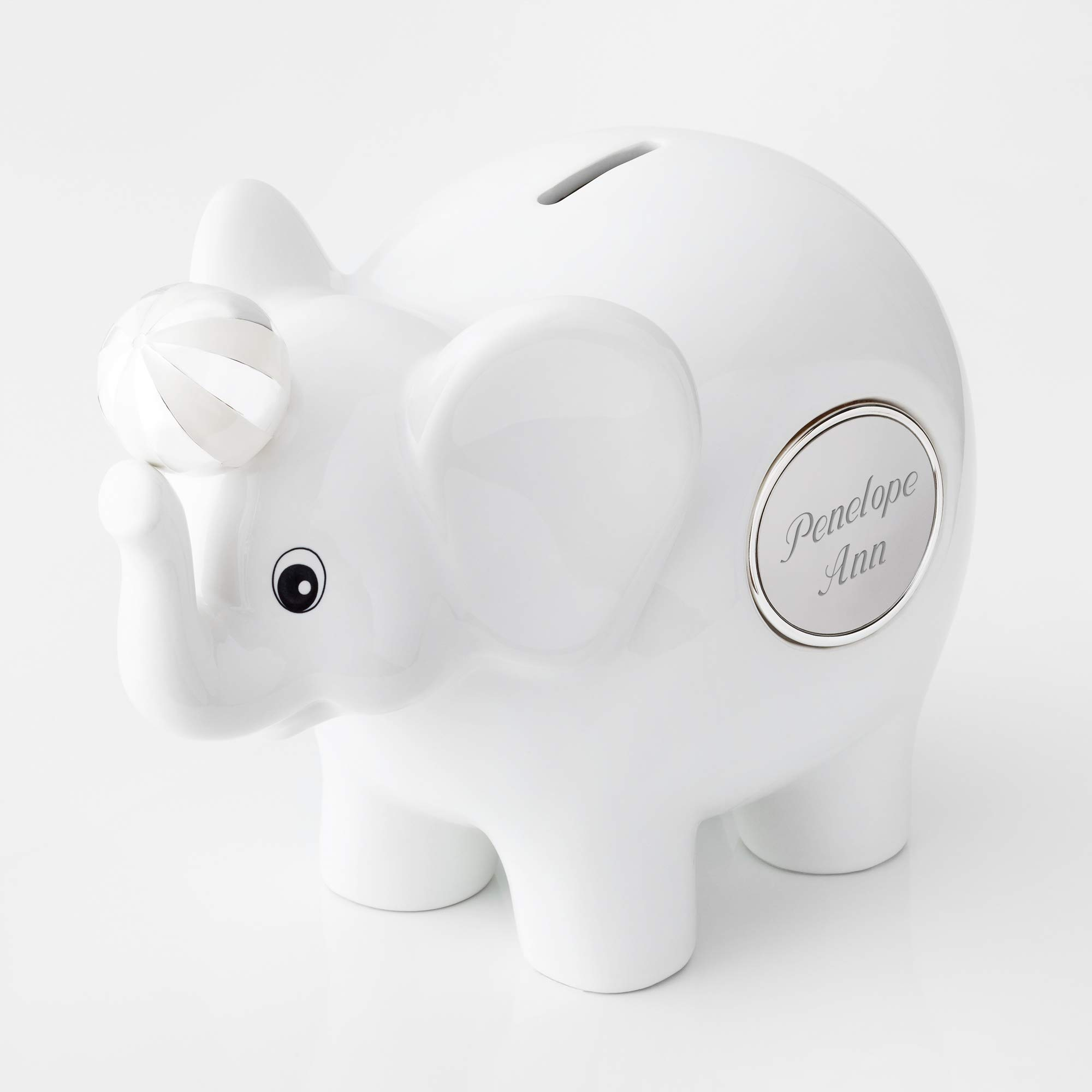Things Remembered Personalized White Ceramic Elephant Bank, Toy Bank with Engraving Included by Things Remembered