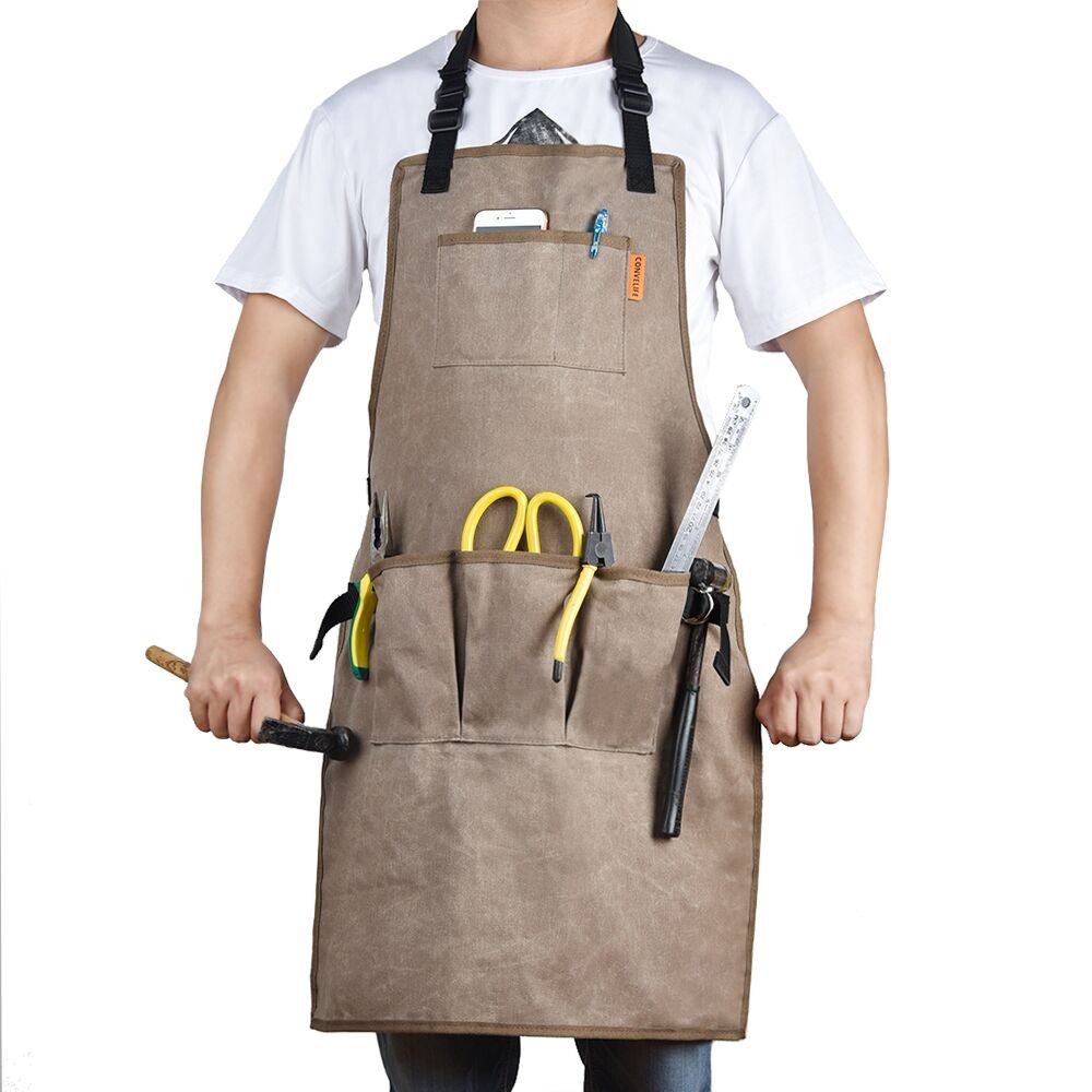 CONVELIFE Waxed Canvas Tool Apron—Work Apron Waterproof With 5 Tool Pockets and 2 Hammer Loops For Men & Women Utility Heavy Duty Shop Aprons With Long Cross-back Straps Adjustable M to XXL by CONVELIFE