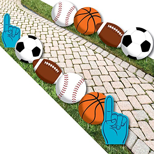 Go, Fight, Win - Sports - Basketball, Baseball, Football & Soccer Lawn Decorations - Outdoor Baby Shower or Birthday Party Yard Decorations - 10 Piece ()