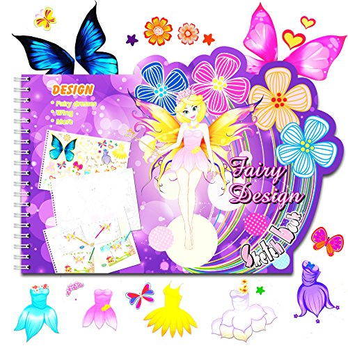 Fairy Dress Sketch Portfolio Sticker Book - Designer Sketchbook - 100+ Stencils, 36 Giant Coloring Pages, Princess Dress Costume Flowers Butterflies Stickers – Art Kit Drawing Coloring Book for Kids (Page Princess Kit)