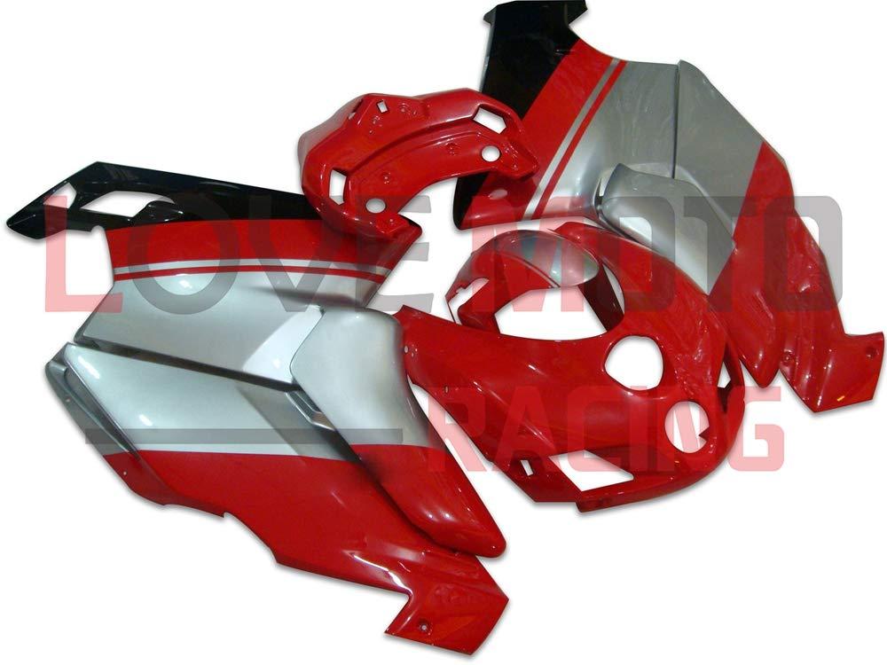 LoveMoto ブルー/イエローフェアリング デュカティ ducati Monoposto 2005 2006 999 749 05 06 ABS射出成型プラスチックオートバイフェアリングセットのキット レッド シルバー   B07KQ5GZSF