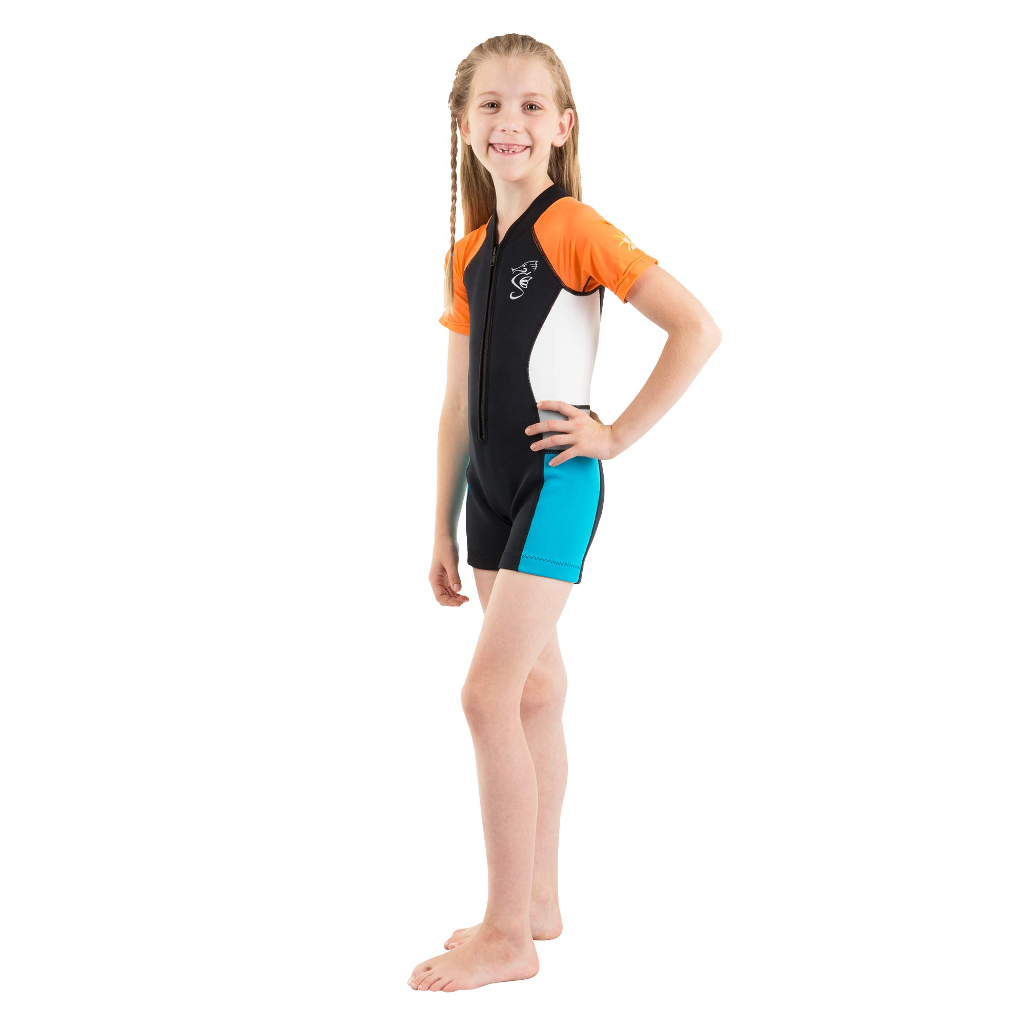 Seavenger Cadet 2mm Kids Shorty | Child Neoprene Wetsuit for Snorkeling, Surfing and Swimming (Orange, 4T) by Seavenger