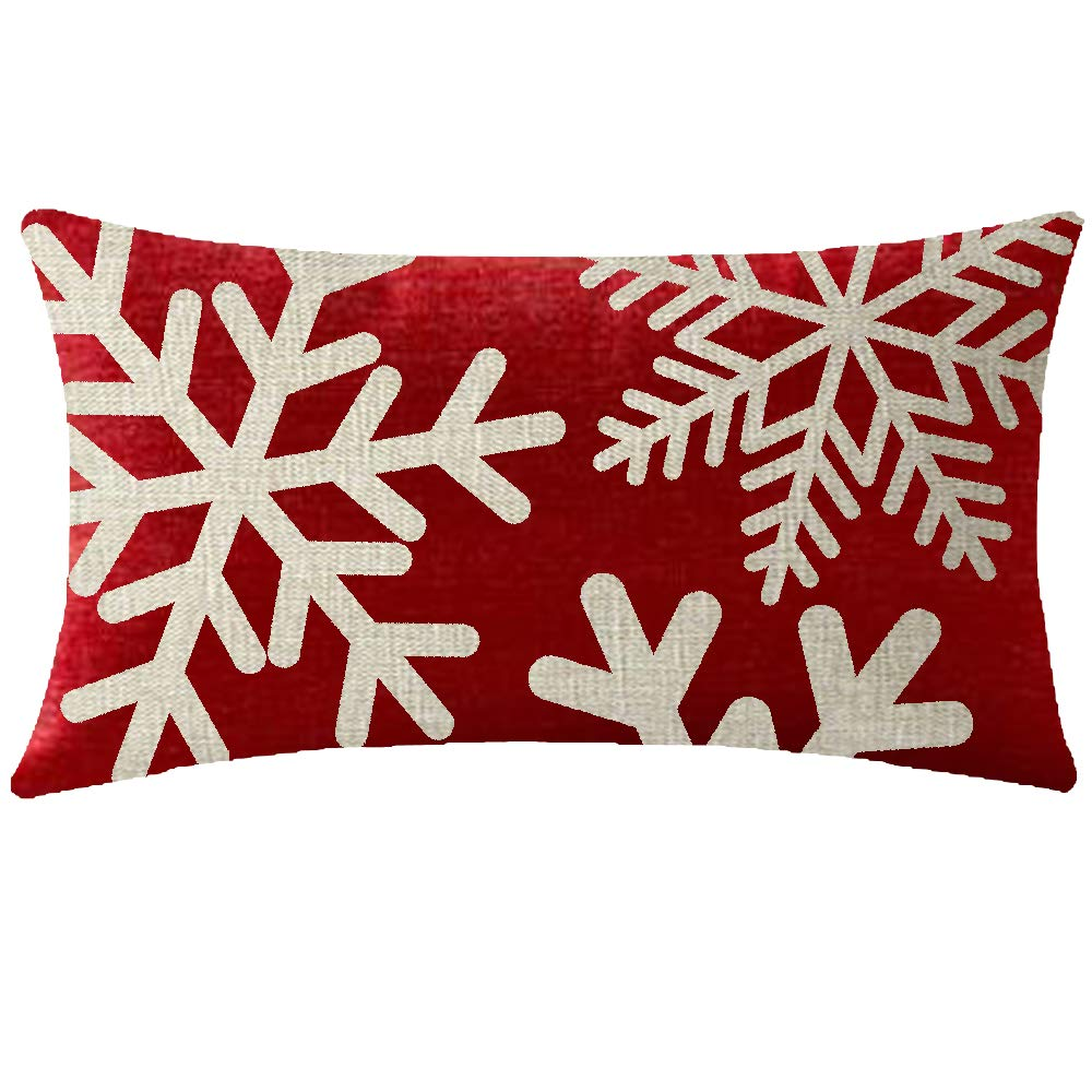 NIDITW Happy Holidays Snowflakes Falling Red Cotton Linen Throw Pillow case Cushion Cover Sofa Chair Decorative Rectangle 12x20 Inches