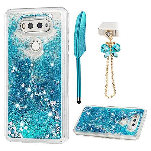 LG V20 Case, Glitter Liquid Case Cover Quicksand Bling Sparkle Shiny Moving Flowing Love Heart Slim Thin Soft TPU Bumper Protector Skin Shell for Girls with Stylus Pen Dust Plug ZSTVIVA - Blue