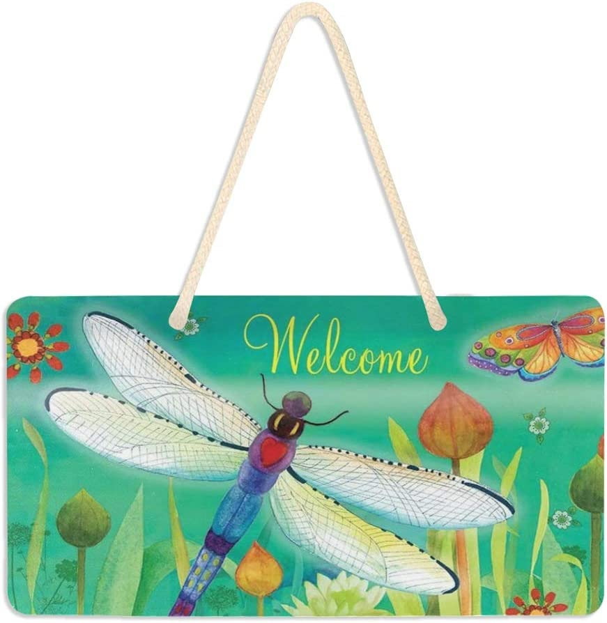 "Wamika Welcome Spring Dragonfly Flowers Door Hanging Sign Plaque Colorful Blooms Floral Butterfly Rustic Summer Wall Signs Yard Indoor Outdoor Garden Decorations Banner with Hang Rope 11"" x 6"""