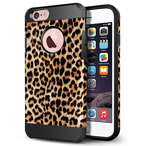 iPhone 6s Case, iPhone 6 Case, LOEV Slim Fit Shockproof Dual Layer Hybrid Protective Case, Tough Hard PC Armor & Soft Rubber Bumper Cover with Air Cushion for Apple iPhone 6/6S - Leopard Print Pattern ()
